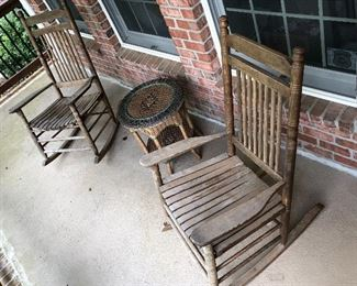 Outdoor Porch Rocking Chairs & Wicker Table