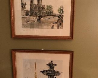 Two Signed and Titled French Watercolors