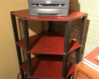 Brother Office Computer Printer and Wooden Shelf