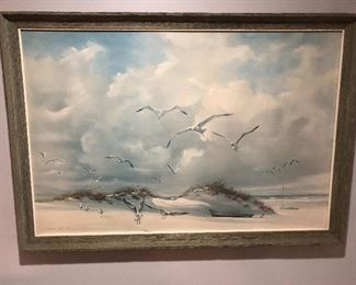 Seagulls at the Shore Framed Beach Art