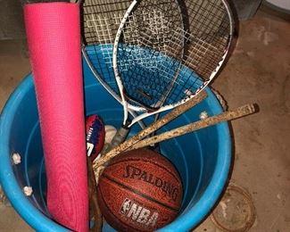 Racketball Rackets and Basketball