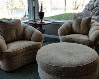 Swivel Century Club Chairs and Ottoman