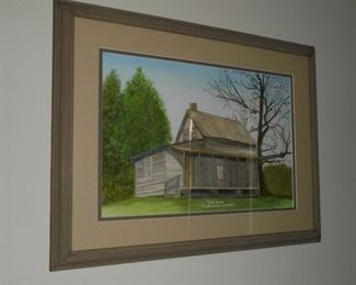 Matted framed watercolor painting 'Mill House Englewood Tn ' signed  9/04