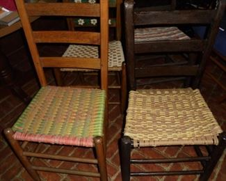 2 of 4 vintage ladder back woven seat chairs