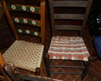 4 of 4 vintage ladder back woven seat chairs