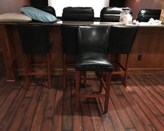Wood stools w leather- bar height