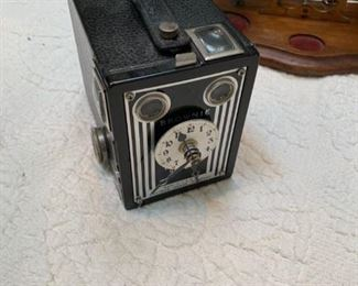 Brownie camera with clock