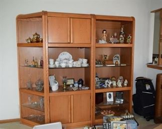 Shelving Unit, China Dish Set, & Collectible Figures