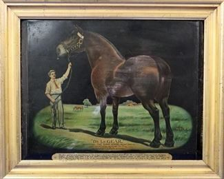 """Dr. LeGear"" Giant Horse Litho on Tin Advertisement"