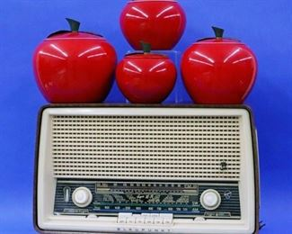 Blaupunkt Short Wave AM-FM Radio, Anodized Apple Canister Set