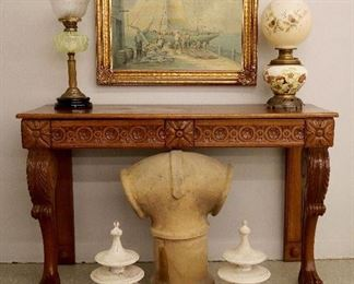 Chimney Cap , Oil Lamps, Oak Console Table, F. Lacky Oil on Canvas,