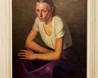 "Elmer Lakatos ""Deep Purple"" Portrait, Oil on Canvas"