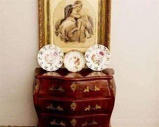 French 3-door Commode, 19th C. Lithograph, French Porcelain