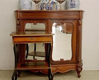 French Inlaid Sewing Table, Rosewood Server, Chinese Porcelain, Sterling