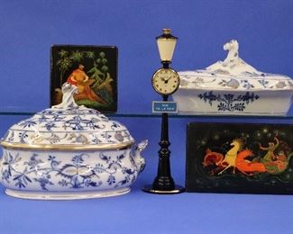 Meissen Covered Dishes, Soviet-era Lacquer boxes, Jaeger Clock