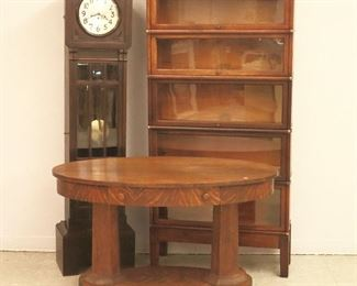 Junghans Tall Clock,  Mahogany Stacking Bookcase, Oak Library Table
