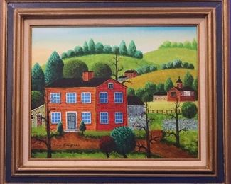 Jonas Bradford Folk Art, Oil on Canvas