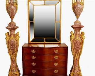Marble Veneer Urns on Stands, Gilt Mirror, Baker Mahogany Chest