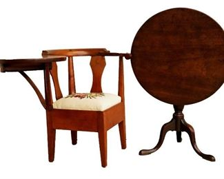 Cherry Writing Corner Arm Chair, Mahogany Tip Top Table