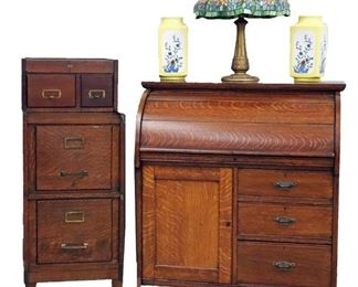 Oak Roll Top  Desk, Oak File Cabinet, Leaded Lamp, Pair of Chinese Vases