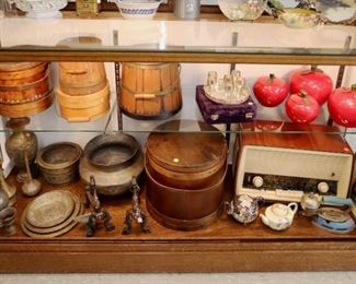 Showcase Grouping - Enamel canister, Radio, Cast Iron & Porcelain, Bronze & Stone pcs.