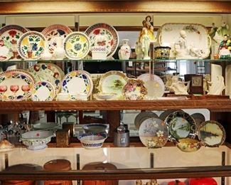 Showcase Grouping - Spatterware, Porcelain, Etc.