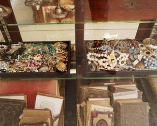 Showcase Grouping - Jewelry, Photo Albums, Ephemera