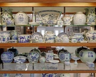 Showcase Grouping - Large Collection of Chinese Blue & White Porcelain