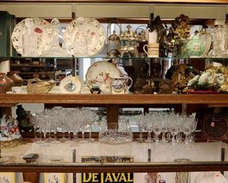 Showcase Grouping- Waterford Stemware, Lamps, Sterling Silver, Pottery, Glassware, etc.