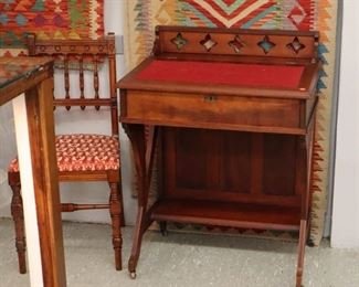Wall View Grouping - Victorian Carved Desk& Chair, Flat weave rugs