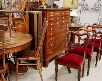 Wall View Grouping - Victorian Side Chairs, Oak Table & Chairs, Iron Trellis, Early Pine Collector's Cabinet