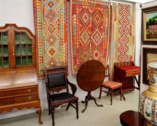 Wall View Grouping - Rugs, Tip Top Table, Maple Cabinet, Chair, Artwork, etc,.