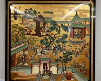 Chinese Lacquer Landscape Panel
