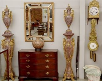 Marble Veneer Urns, Baker Mahogany Chest, Gilt Mirror, etc.