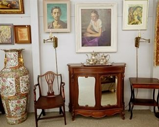 Early Mahogany Chair, Artwork, Asian Floor Vase, Mid Mod Wall Sconces, etc.