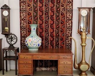 Edwardian Desk, Bronze Statue, Rug, Vase, Wall Clocks
