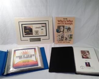 Lot of 4. 2 commemorative cover collection albums, who's who on u.s. stamps book , and White Pass an                    https://ctbids.com/#!/description/share/156133