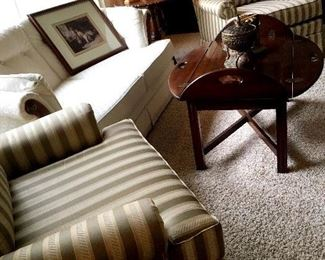 Quality Furniture!...Two Pretty Striped Arm Chairs...and A White Two Cushion Love Seat...