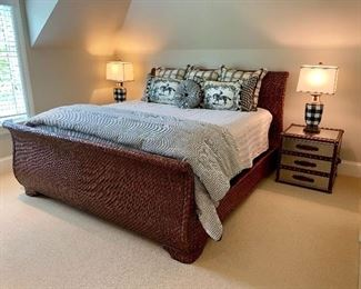 "Beautiful Distessed Wicker Sleigh King Bed by Robyn Jones Measures: 83""W Mattress included"