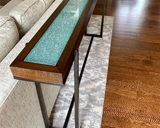 "Contemporary Wood with Shattered Glass Inlay Console Measures: 70""x8""x32"""