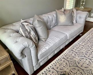 "Restoration Hardware Kensington Collection. Classic Chesterfield style brings comfort and tradition to your home.                                                                            Measurements:                                                                            Sofa- 96""x37""x30""                                                                                     Chair- 48""x38""x30"""
