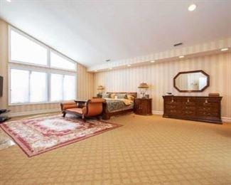 Henredon Bedroom set - king size bed, pair of nightstands, triple dresser, Regency style reclaimer, Aubusson design needlepoint carpet