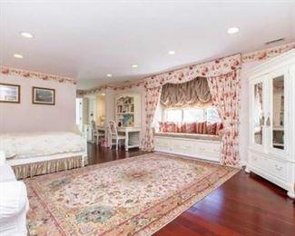 Lexington girl's bedroom set - queen size bed, pair of nightstands, armoire, desk, chair, white loveseat, very fine handmade Kerman design carpet