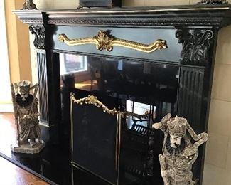 Pair of Chinese large bone noblemen figures, antique Ingraham mantle clock, brass firescreen