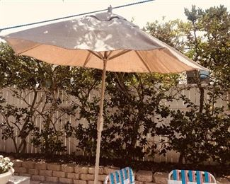 Patio Umbrella with Cast Iron Stand