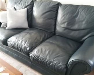Navy Leather Sofa
