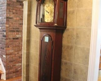 Antique English grandfather clock, face marked T. Laidlaw London