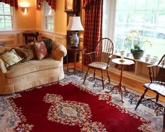 D.R Dimes Windsor chair, antique Windsor chair & Eldred Wheeler tables, Baker settee