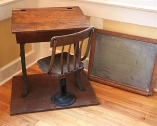 Antique Chandler school house desk & chair