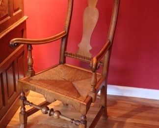 "Robert Fileti handcrafted ""John Gains"" curly maple arm chair"